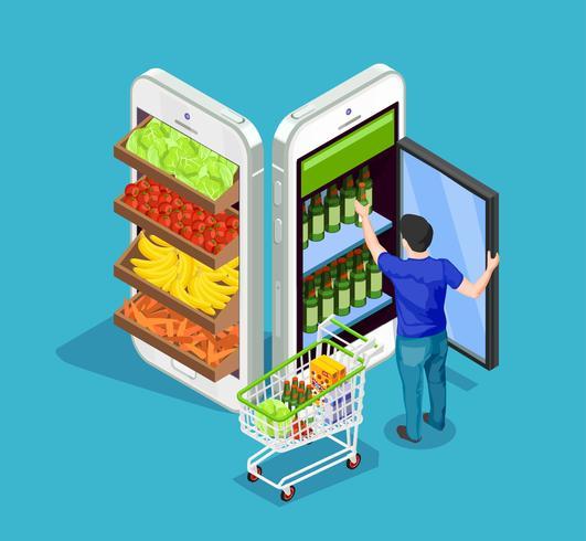 Shopping online di persone isometriche vettore