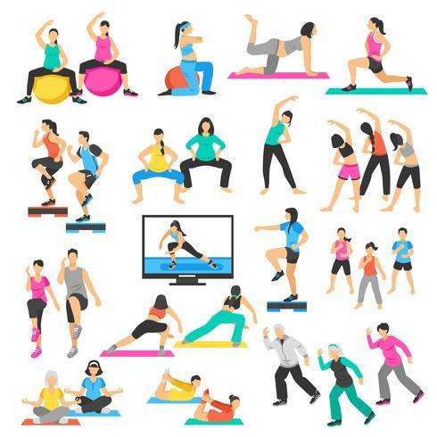 Insieme di aerobica di ginnastica di yoga della gente vettore