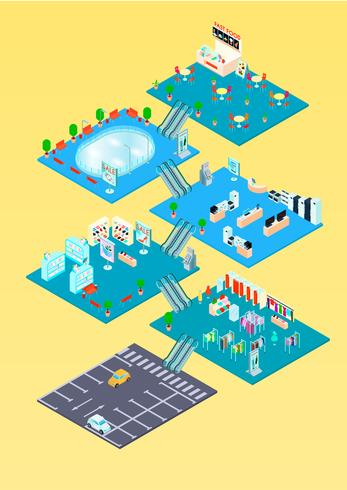 Infographics isometrica del centro commerciale vettore