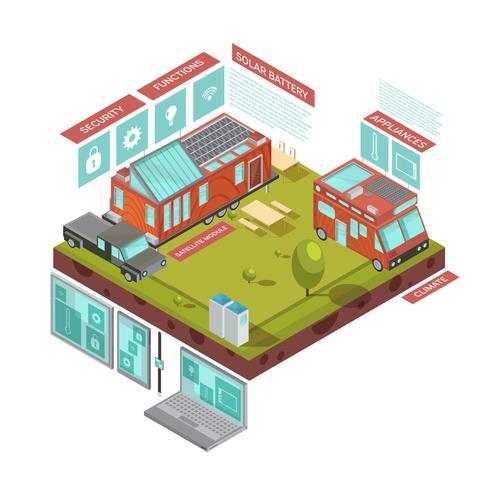 Concetto isometrico della casa mobile vettore