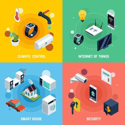 Set di icone di concetto di casa intelligente vettore