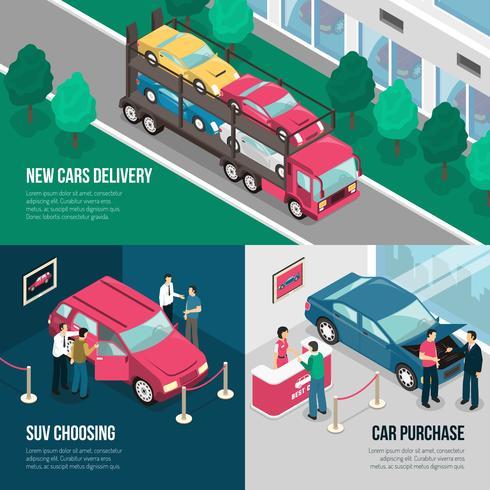 Insieme di concetto di progettazione di leasing del concessionario auto vettore
