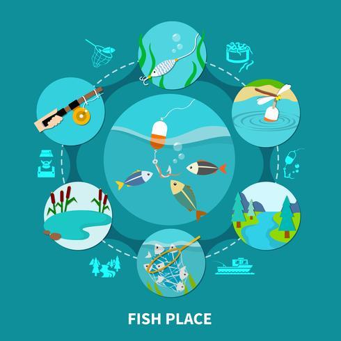 Composizione di pesca subacquea piscaria vettore