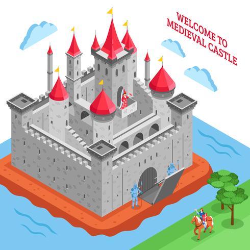 Medioevo Composizione del castello reale europeo vettore