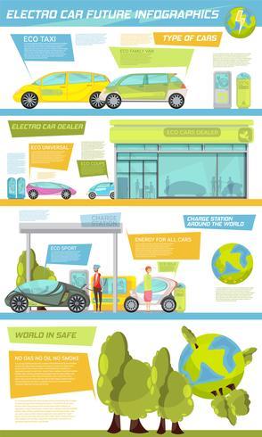 infografica di auto elettriche vettore