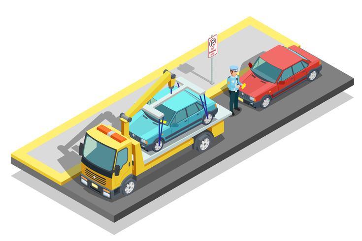 Composizione di parcheggio isometrica vettore