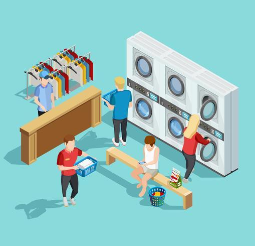 Poster isometrico della funzione di lavanderia self service vettore