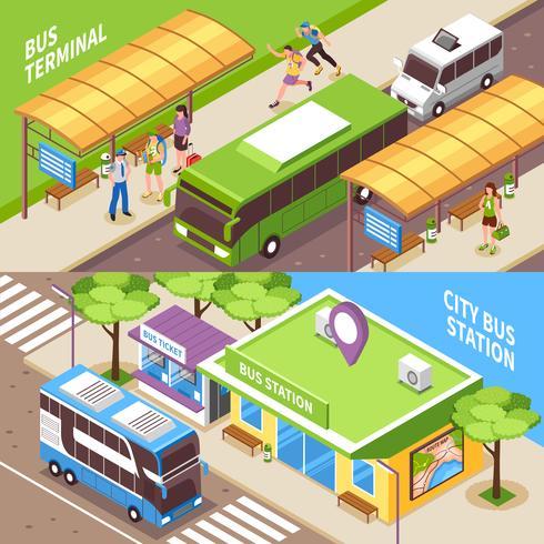 Bandiere orizzontali isometriche del terminale di bus vettore