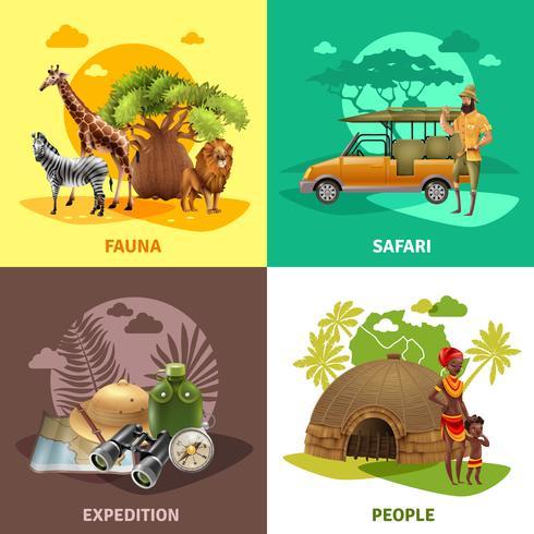 set di icone di design safari vettore