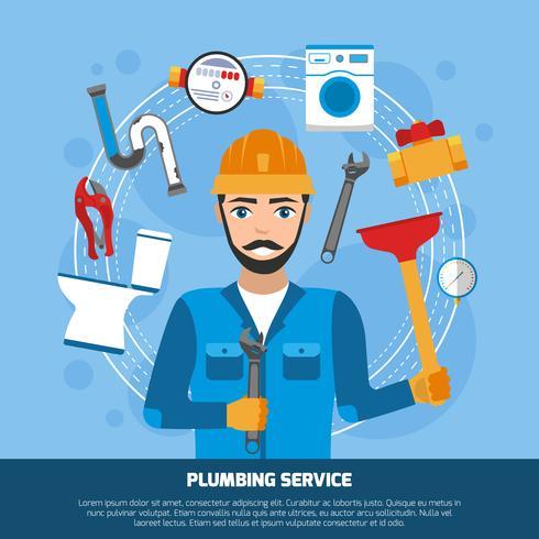 Sfondo di strumenti di servizio idraulico vettore
