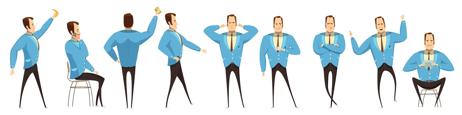 Set di uomo d'affari in varie pose vettore