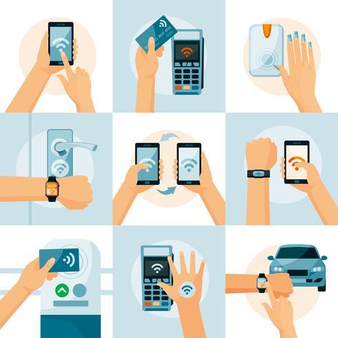 Concetto di stile piatto tecnologia NFC vettore
