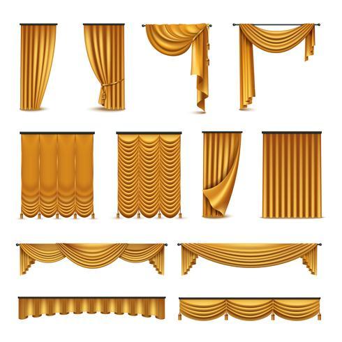 Golden Curtains Drapery Collezione di icone realistiche vettore