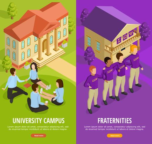 Insegne verticali isometriche di istruzione universitaria 2 vettore