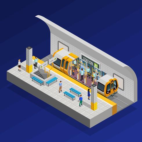 Concetto isometrico della stazione della metropolitana vettore