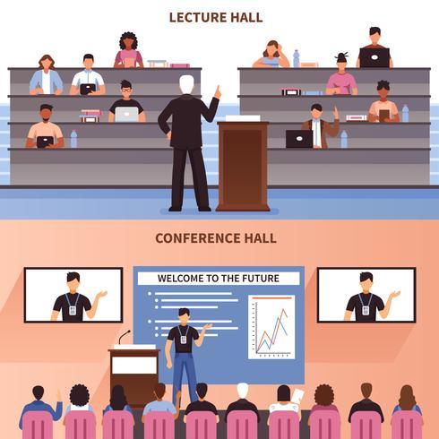 Insieme dell'insegna di conferenza e conferenza vettore