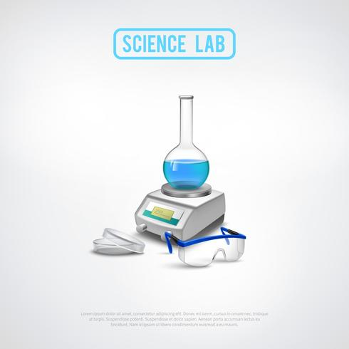 Composizione di attrezzature da laboratorio minimalista vettore