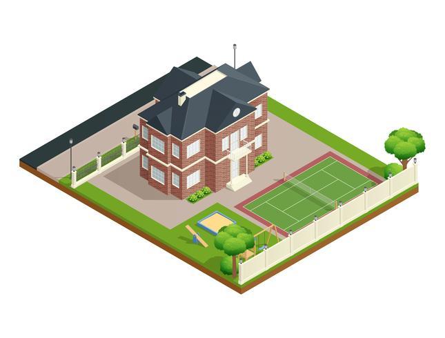 Composizione isometrica casa sobborgo vettore