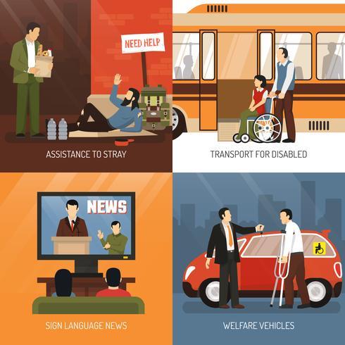 Set di icone di concetto di persone disabili vettore