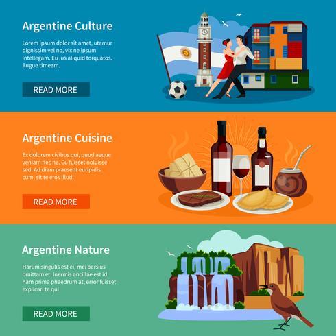 Pagina del sito Web di banner turistici in Argentina vettore