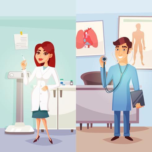 Banner verticale di medicina dei cartoni animati vettore