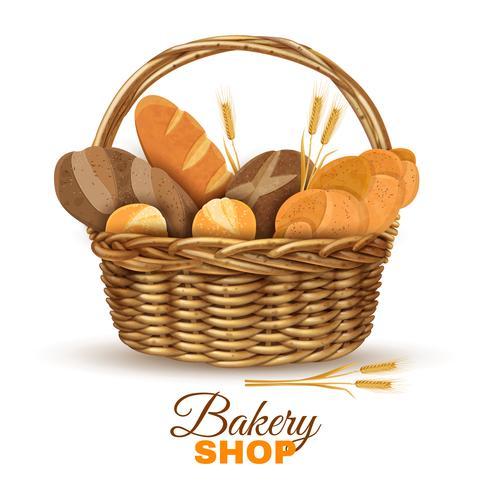 Cesto di panetteria con immagine realistica di pane vettore