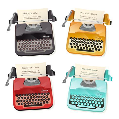 Set piatto di macchina da scrivere vettore