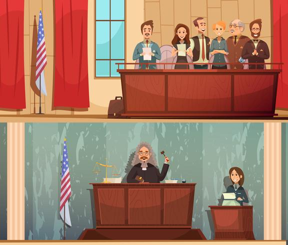 Set di Banners Vintage Law Courtroom 2 vettore
