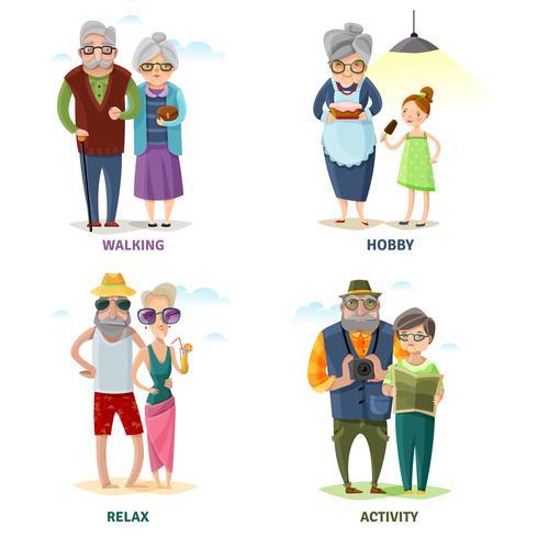 Raccolta del fumetto di persone anziane vettore