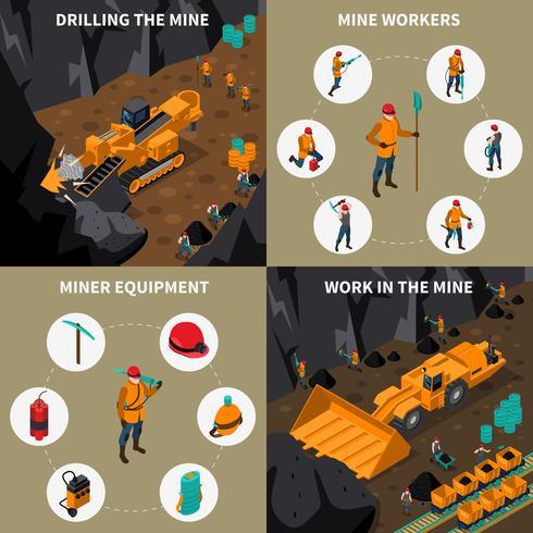 Set di icone isometriche persone minatore 2x2 vettore