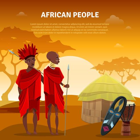 Poster piatto di persone e cultura africana vettore