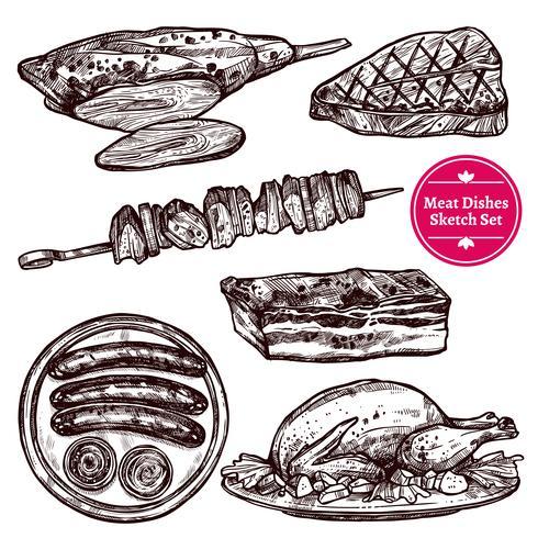 Set di piatti di carne vettore