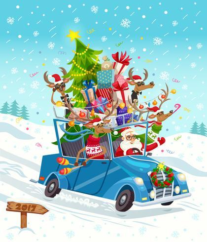 Carta regalo di Natale dei cartoni animati vettore