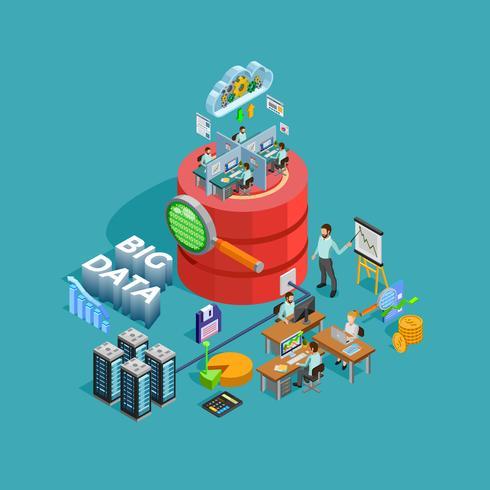 Poster isometrico di concetto di analisi di analisi dei dati di dati vettore