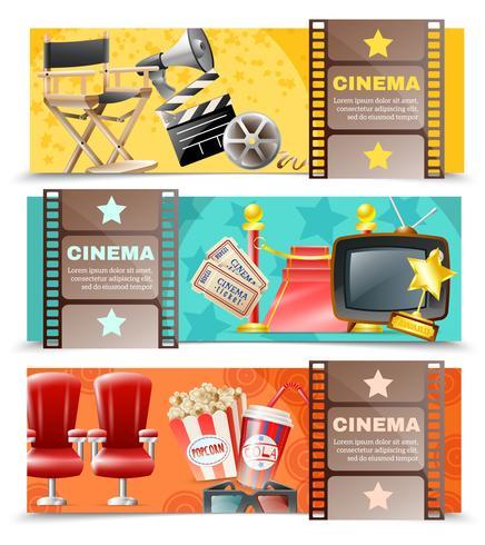 Cinema Movie 3 Orizzontale Retro Banners vettore