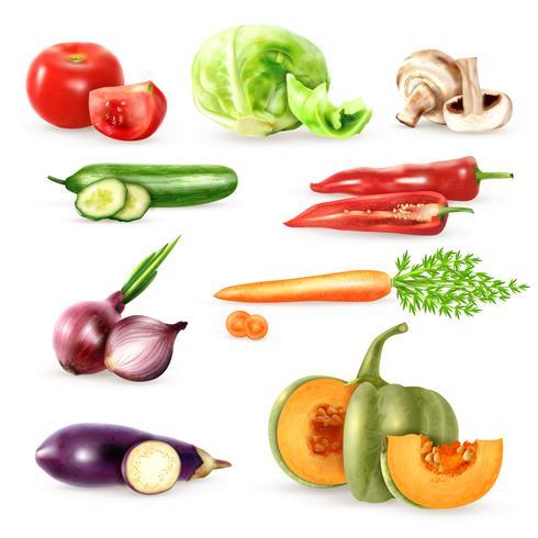 Raccolta di icone decorative di verdure vettore