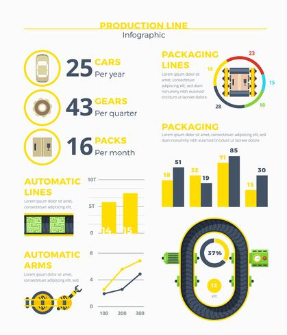 Infographics linea di produzione vettore