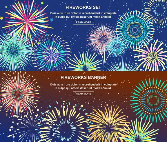 Bandiere orizzontali di esplosione di fuochi d'artificio vettore