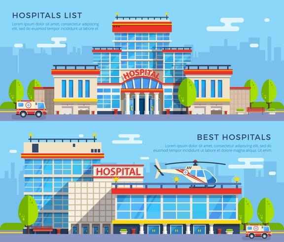 Insegne piatte dell'ospedale vettore