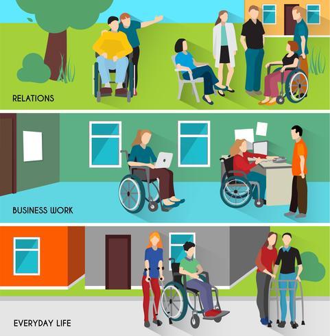 Set di bandiere di persone disabili vettore