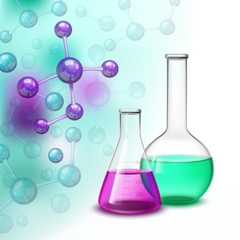 Composizione variopinta delle molecole e dei vasi vettore