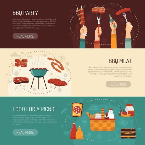 Banner orizzontale di barbecue party vettore