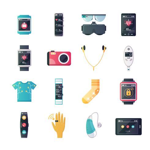 Collezione di icone piane di gadget tecnologia indossabile vettore
