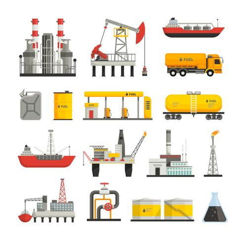 Set di icone di industria della benzina di olio vettore