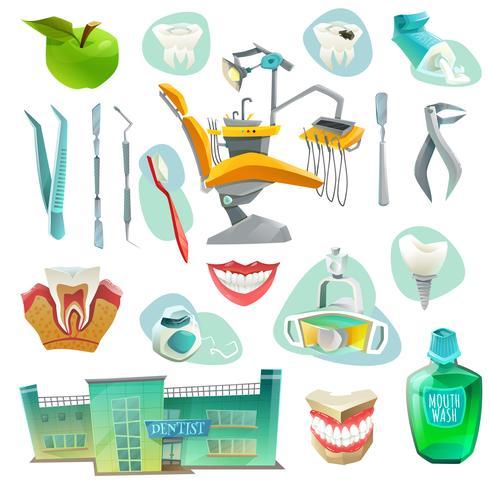 Icone decorative dell'ufficio dentario messe vettore