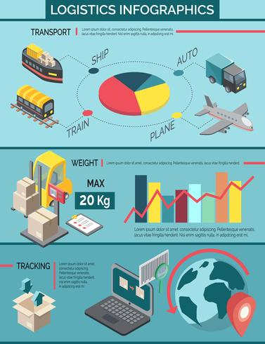 Logistica Set Infografica vettore