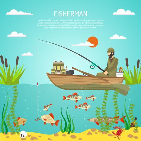 Pescatore Color Design Concept vettore