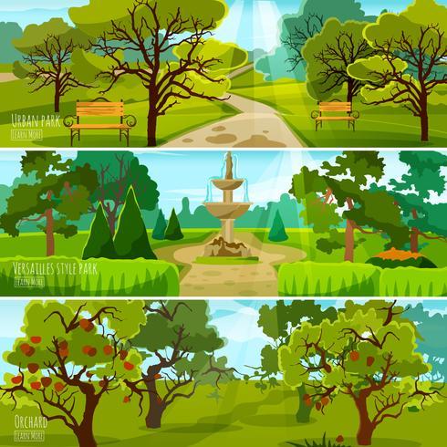 Banner di paesaggio giardino vettore