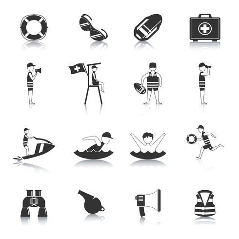 Set di icone nero bagnino vettore