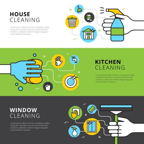 Bandiere di pulizia di casa cucina e finestra vettore
